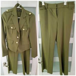 NY&CO Olive Green Military Pant suit 10
